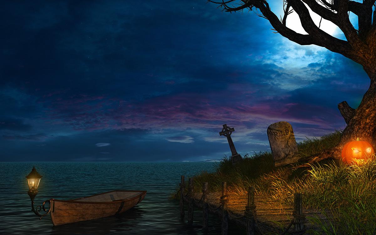 halloween spooky boat scene